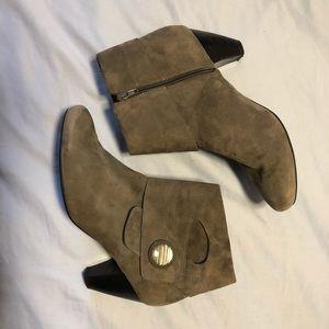 Grey faux suede ankle boots, sz 11